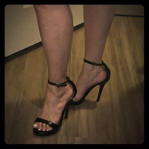 Black ankle tie heels